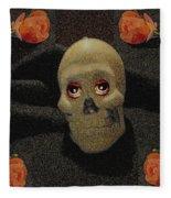 A Skull In The Dark Pop Art Fleece Blanket