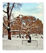 A Snow Day In Central Park Fleece Blanket