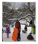 A Snow Day In The Park Fleece Blanket