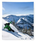 A Snowboarder Making Some Fresh Tracks Fleece Blanket