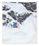 A Snowboarder Riding Through Powder Fleece Blanket