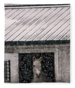 A Snowfall At The Stable Fleece Blanket