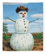 A Snowman In Texas Fleece Blanket