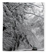 A Snowy Drive Through Chestnut Ridge Park Fleece Blanket