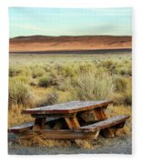 A Solitary Wooden Picnic Bench Fleece Blanket