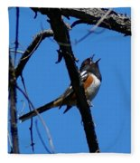 A Spotted Towhee Mid-song Fleece Blanket