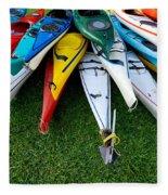 A Stack Of Kayaks Fleece Blanket