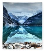 A Still Day At Lake Louise Fleece Blanket