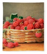 A Still Life Of Raspberries In A Wicker Basket  Fleece Blanket