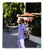 A Street Entertainer In The Hollywood Section Of The Universal Studios Fleece Blanket