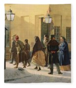 A Street Scene, Outside A Prison, 1868 Oil On Canvas Fleece Blanket