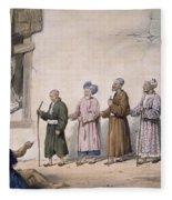A String Of Blind Beggars, Cabul, 1843 Fleece Blanket