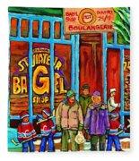 A Stroll After The Hockey Game St Viateur Bagel Montreal Winter Street Carole Spandau Fleece Blanket