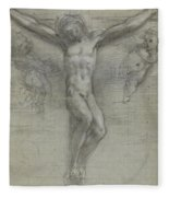 A Study Of Christ On The Cross With Two Fleece Blanket