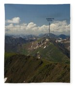 A Summit View Panorama With Peak Labels Fleece Blanket