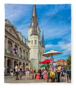 A Sunny Afternoon In Jackson Square Fleece Blanket