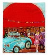 A Sunny Day At The Big Oj- Paintings Of Orange Julep-server On Roller Blades-carole Spandau Fleece Blanket