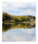 A Sunny Day's Reflections At The Lake House Fleece Blanket