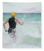 A Swimmer Running To The Ocean Fleece Blanket