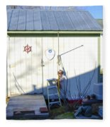 A Tool Shed In The Back Yard Fleece Blanket