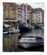 A Tour Boat At Nyhavn Fleece Blanket