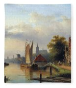 A Town By The River Fleece Blanket