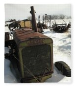 A Tractor In The Snow Fleece Blanket
