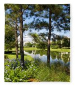 A Tranquil Pond At Walt Disney World Fleece Blanket