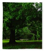 A Tree And A Bench Fleece Blanket