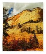 A Tree And Orange Hill Fleece Blanket