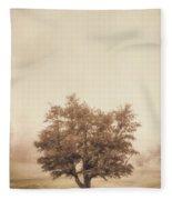 A Tree In The Fog Fleece Blanket