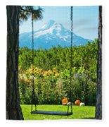 A Tree Swing Is Seen On A Summer Day Fleece Blanket