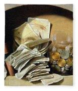 A Trompe Loeil Of Paper Money Coins Fleece Blanket