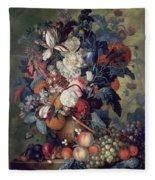 A Vase Of Flowers With Fruit Fleece Blanket