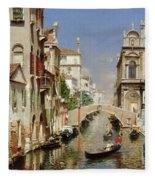 A Venetian Canal  Fleece Blanket