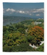 A View From The Hudson River Walkway Fleece Blanket
