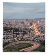 A View Of San Francisco At Twighlight Fleece Blanket
