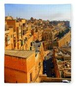 A View Of Valletta's Waterfront Fleece Blanket