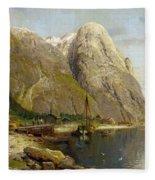 A Village By A Fjord Fleece Blanket