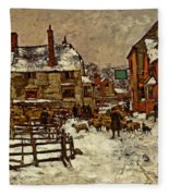 A Village In The Snow Fleece Blanket