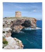 Xviii Defensive Tower In Alcafar Minorca - A Walk About Cliffs Fleece Blanket