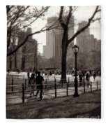 A Walk In Central Park - Antique Appeal Fleece Blanket