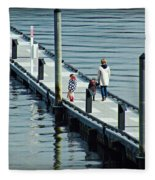 A Walk On The Pier Fleece Blanket