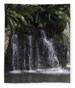 A Waterfall As Part Of An Exhibit Inside The Jurong Bird Park Fleece Blanket