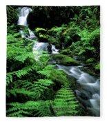 A Waterfall In Redwood National Park Fleece Blanket