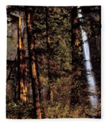 A Waterfall Tumbles Through The Forest Fleece Blanket