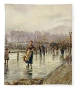 A Wet Day In Whitby Wc On Paper Fleece Blanket