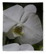 A White Orchid Flower Inside The National Orchid Fleece Blanket