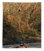 A Whitewater Rafters Rows His Boat Fleece Blanket