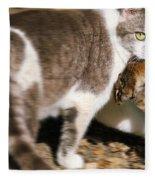 A Wild Cat Catching A Chipmunk Fleece Blanket